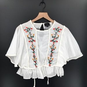 Lumiere Embroidered Gauze boho festival top hippy Batwing Blouse White S women's